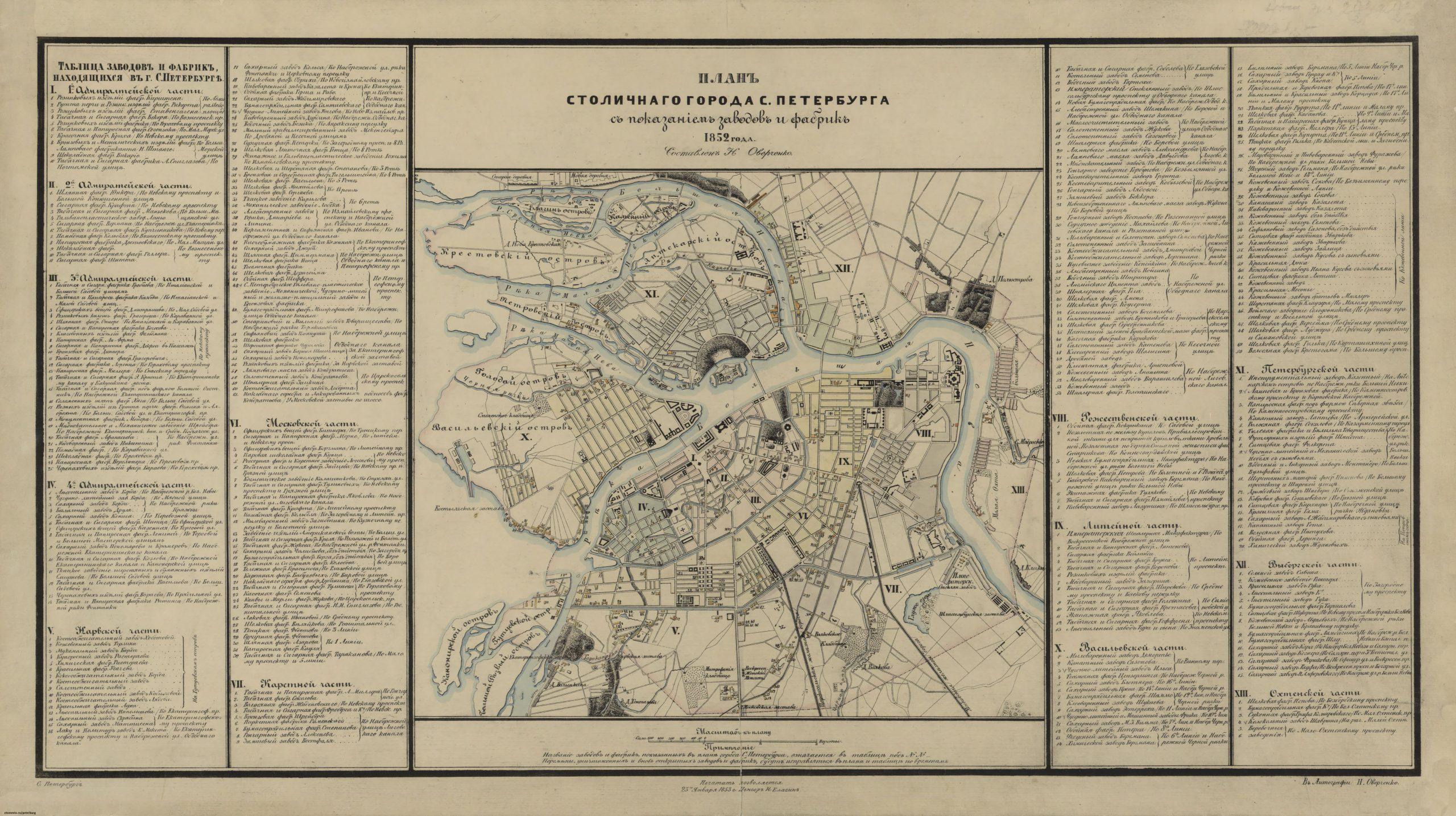 Figure 34. H. Overchenko, « Plan de Pétersbourg d'Overchenko», 1852, https://bit.ly/2EL11KH. (Consulté le 28 octobre 2019).
