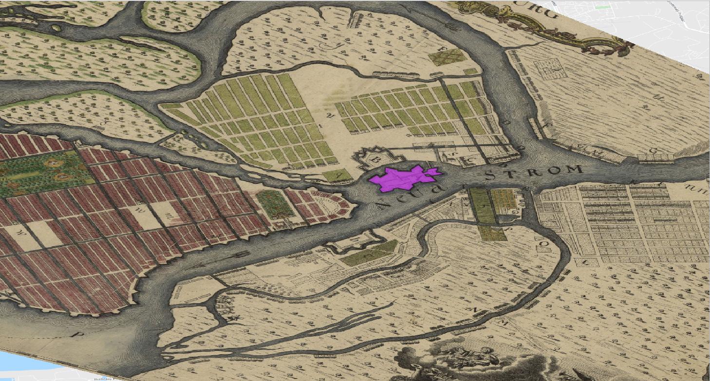 Figure 1. Île aux Lièvres au cœur de la Neva et abritant la forteresse Pierre et Paul.