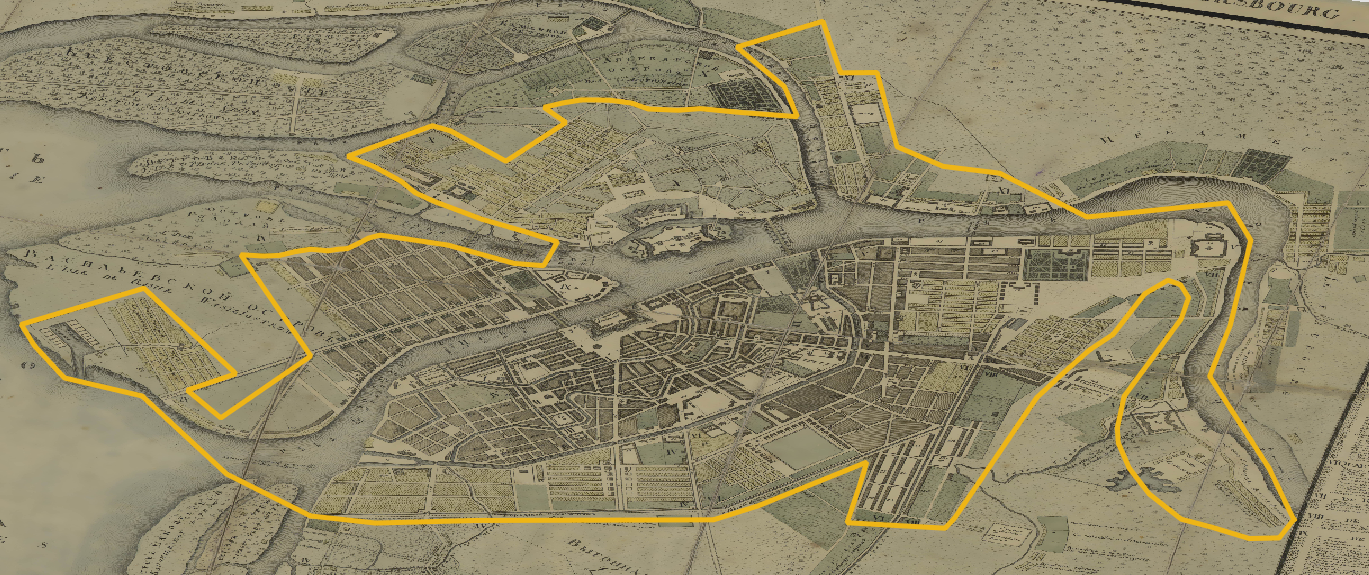 Figure 22. L'expansion de la cité en 1737, d'après Rozman, sur la carte de 1804.