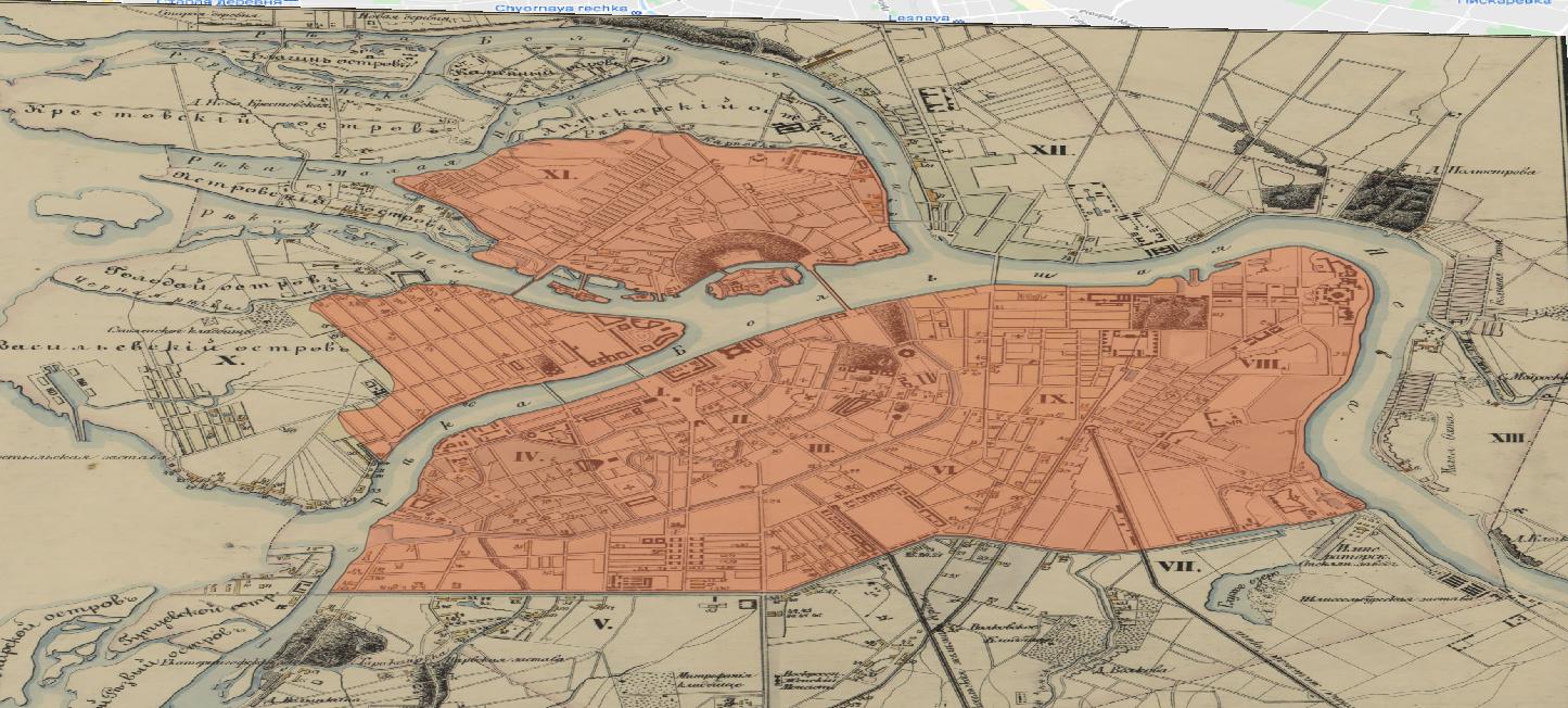 Figure 39. La zone de restriction industrielle de 1833 et le canal Obvodnyy (ligne jaune).