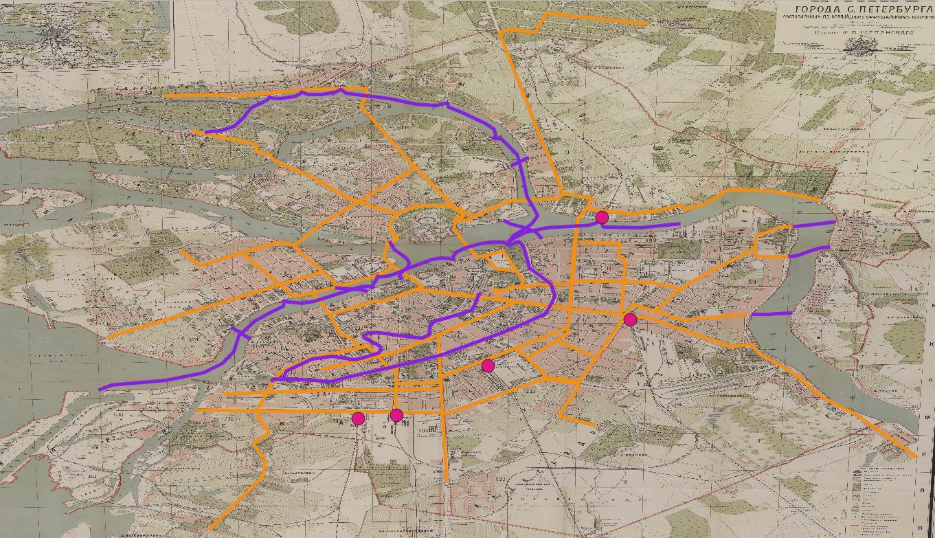 Figure 42. Le réseau de transport en 1894 (La ligne orange : réseaux de cheval-tramway; ligne violette, réseau fluvial; points roses, les gares; ligne jaune, canal Obvodnyy).