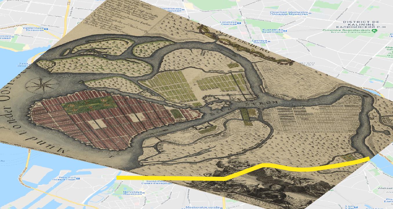 Figure 44. Le canal Obvodnyy sur la carte de Bush (1721).
